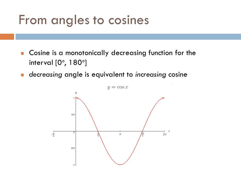 From angles to cosines Cosine is a monotonically decreasing function for the interval [0o, 180o]